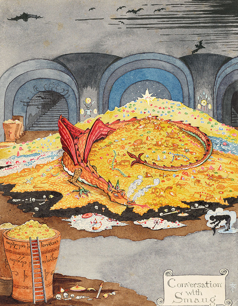 J. R. R. Tolkien (1892–1973), Conversation with Smaug, July 1937, black and colored ink, watercolor, white body color, pencil. Bodleian Libraries, MS. Tolkien Drawings 30. © The Tolkien Estate Limited 1937, via Morgan Library & Museum