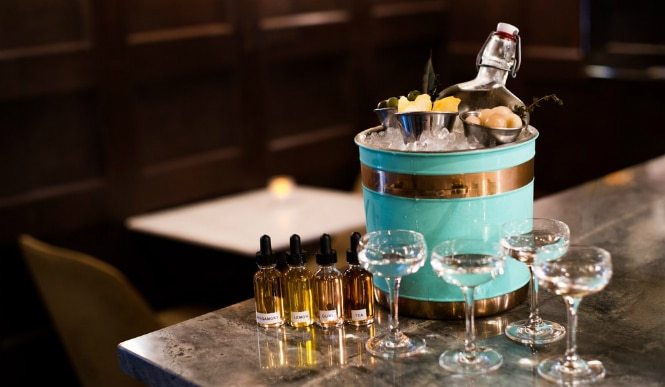 To Share: Mar(tiny) Service created in front of you with vodka, vermouth, garnishes, and tinctures (Photo via Gibson & Luce)