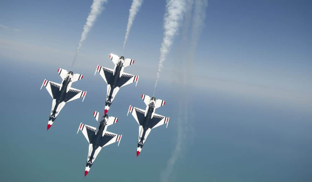 The Thunderbirds and Blue Angels are making a flyby over NYC tomorrow