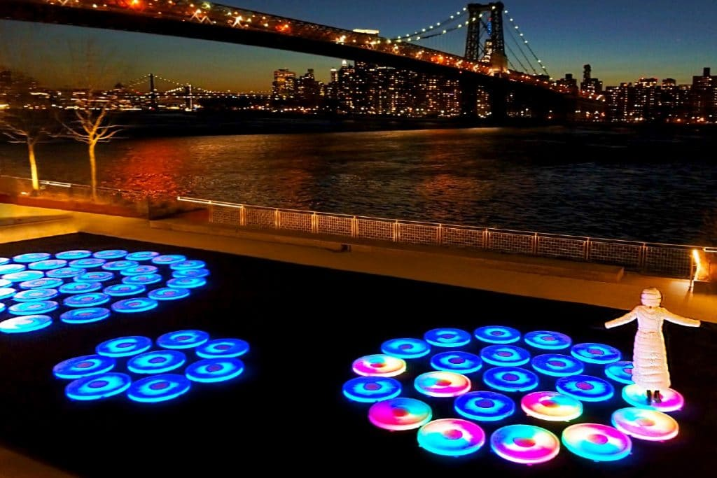 Colorful Platforms Light Up Domino Park In A New Immersive Art Exhibit