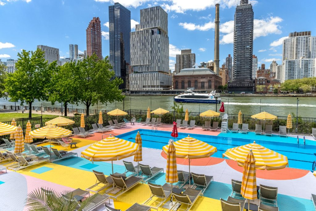 This Stunning Waterfront Pool On Roosevelt Island Is A Multicolor Oasis