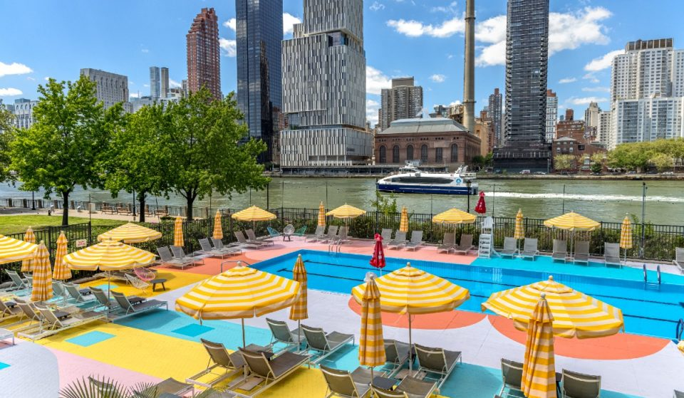 Roosevelt Island's Stunning Multicolor Waterfront Pool Has Reopened For The Summer