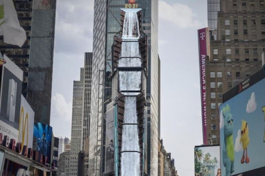 An Enormous 350-Foot Digital Waterfall Is Cascading Down One Times Square
